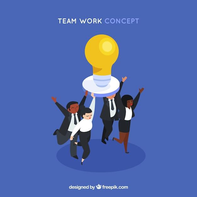 Teamwork concept met gloeilamp Gratis Vector