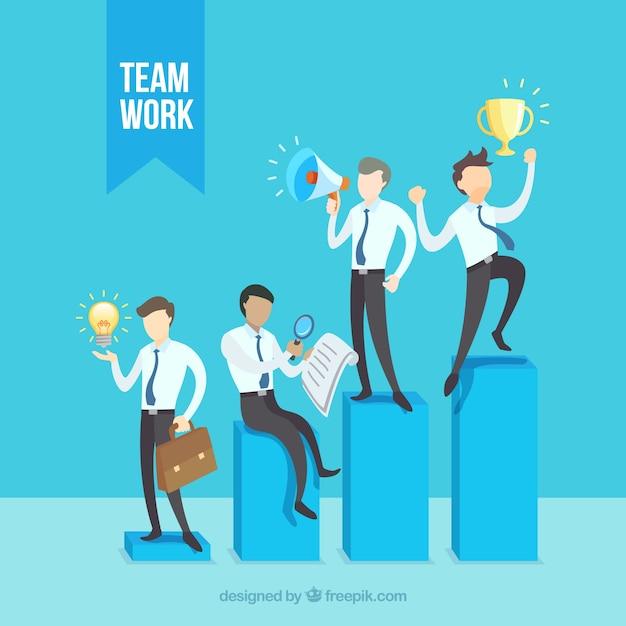 Teamwork concept met mensen uit het bedrijfsleven op balken Gratis Vector
