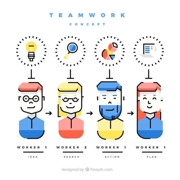 Teamwork concept met platte ontwerp Gratis Vector