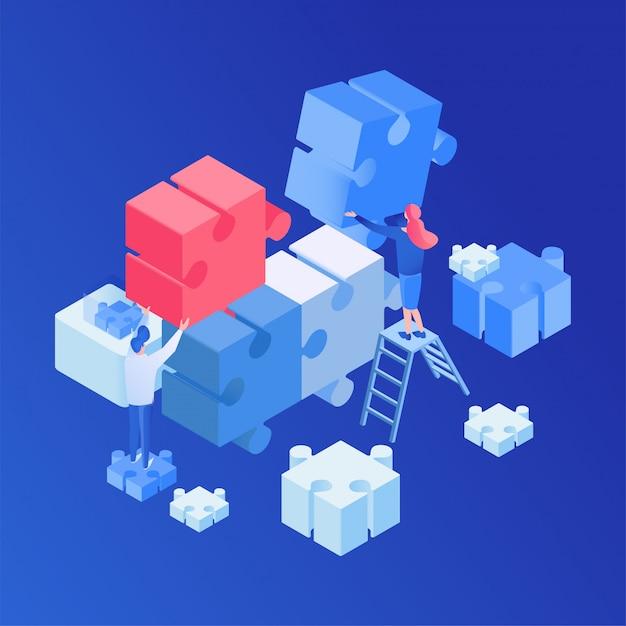 Teamwork, creatief proces isometrisch Premium Vector