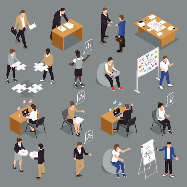 Teamwork efficiënte samenwerking isometrische pictogrammenverzameling met op elkaar inwerkende unified sharing ideeën brainstormen beslissingen nemen mensen Gratis Vector