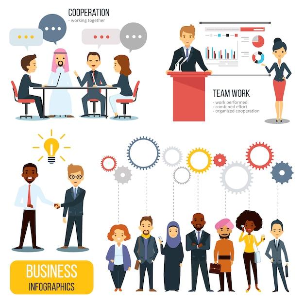 Teamwork en partnerschap zakelijke infographics set Gratis Vector