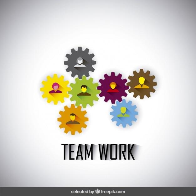 Teamwork illustratie gemaakt met versnellingen en avatars Gratis Vector