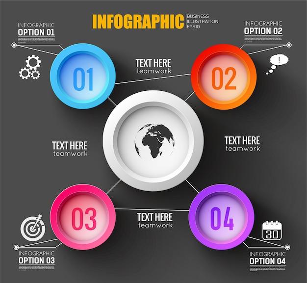 Teamwork infographic sjabloon met silhouet van wereldkaart puttend uit witte ronde chip en vier kleurrijke genummerde knoppen rond plat Gratis Vector
