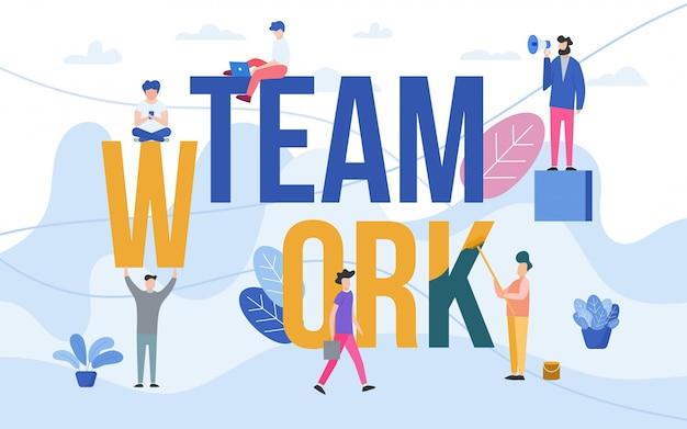 Teamwork met mensen die in team werken Premium Vector