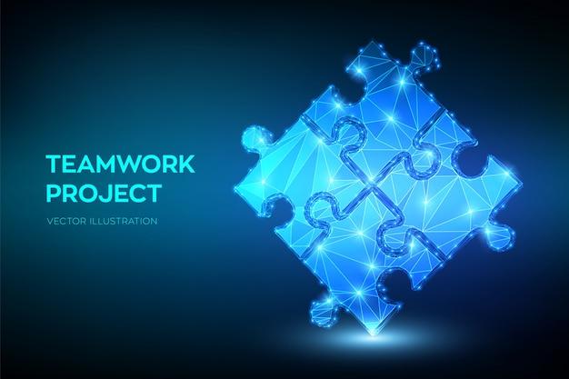 Teamwork met puzzel. samenwerking, partnerschap, vereniging en verbinding. Premium Vector