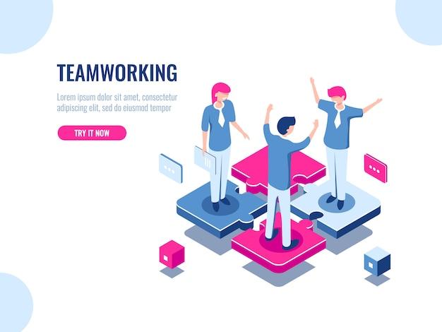 Teamwork succes isometrische pictogram, puzzel bedrijfsoplossing, samenwerken, vereniging van mensen Gratis Vector