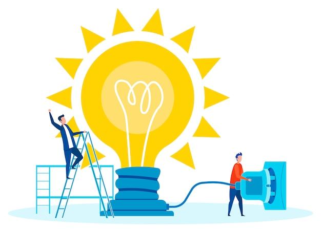 Teamwork voor innovaties concept vlakke afbeelding Premium Vector