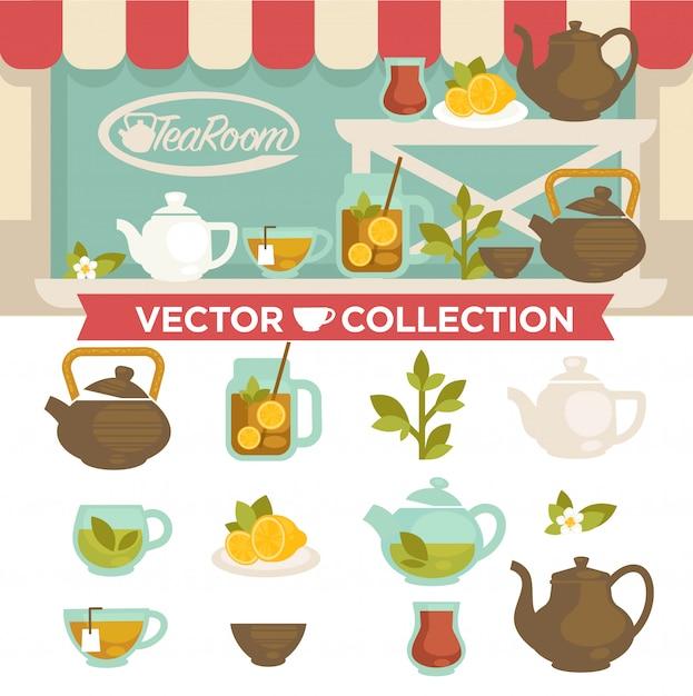 Tearoom drinks vector collection op showcase. Premium Vector