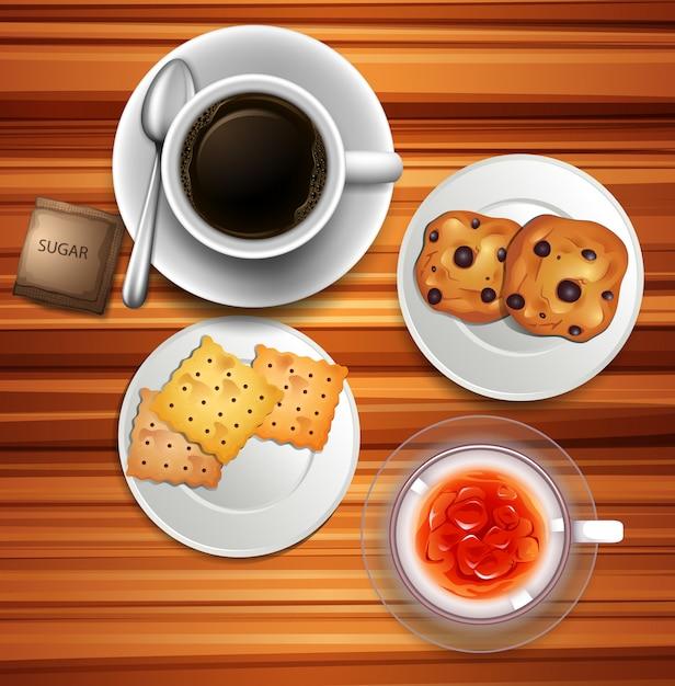 Teatime met koffie en koekjes Gratis Vector