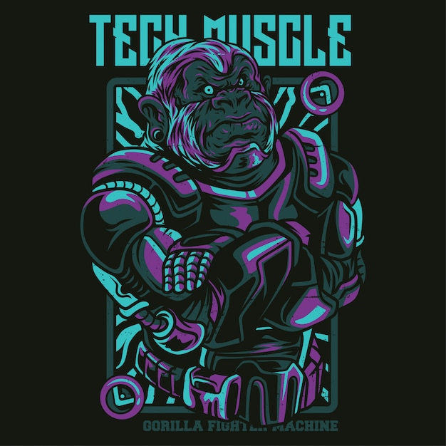 Tech muscle illustratie Premium Vector