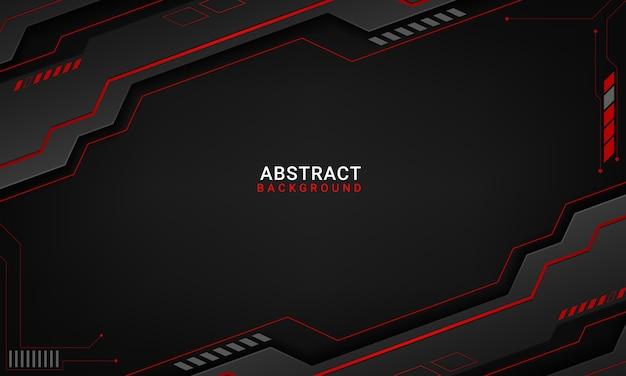 Tech zwarte achtergrond met contrast rode strepen Premium Vector