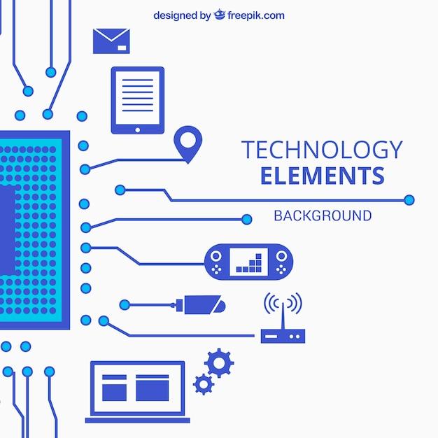 Technische achtergrond met apparaten in vlakke stijl Gratis Vector