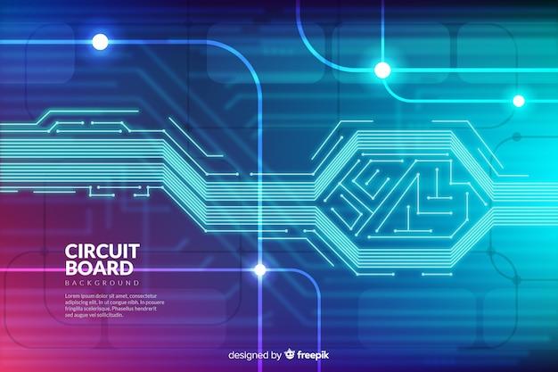 Technische achtergrond met printplaat Gratis Vector