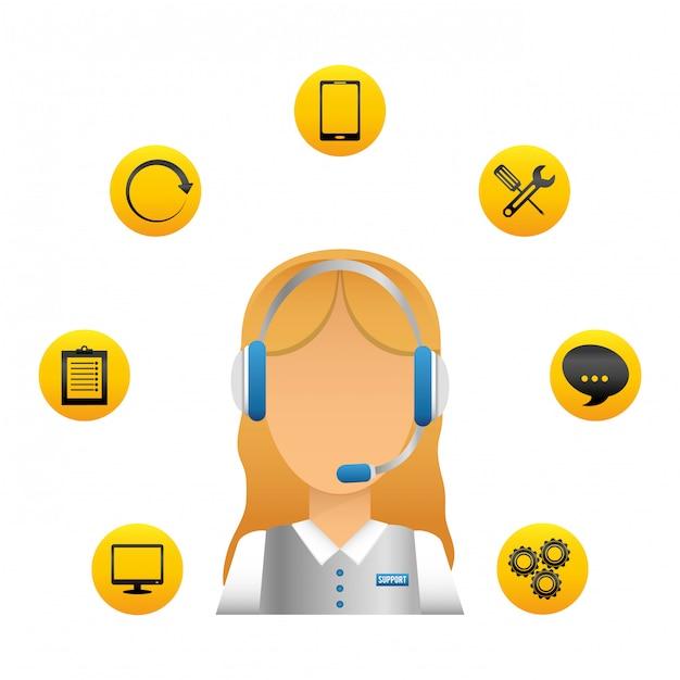 Technische dienst en call center icoon Premium Vector