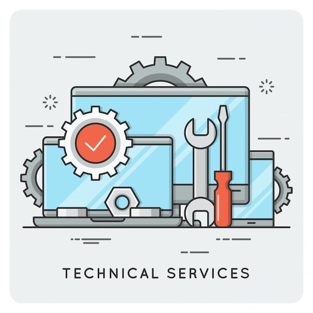 Technische diensten. dunne lijn . Premium Vector