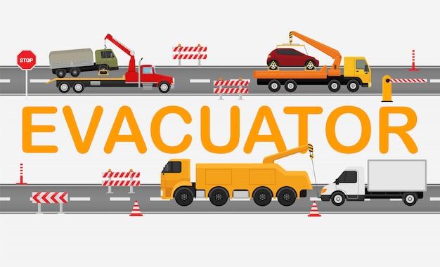 Technische evacuatorweg, werkende machinevrachtwagen die op witte, vlakke vectorillustratie wordt geïsoleerd. de verkeersopstopping, sleepwagen draagt gebroken auto. Premium Vector