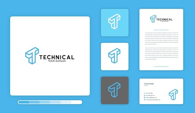 Technische logo ontwerpsjabloon Premium Vector