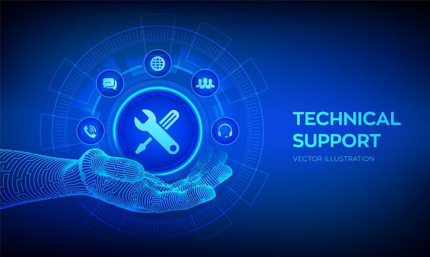 Technische ondersteuning pictogram in robot hand. klant hulp. technische ondersteuning. Premium Vector