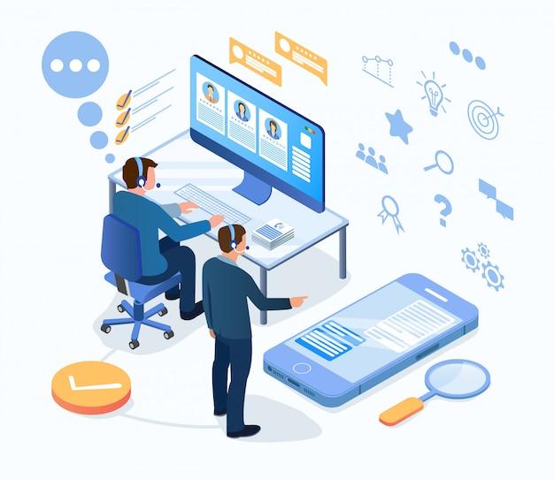 Technische ondersteuning, werk van klantenservicemedewerkers Premium Vector