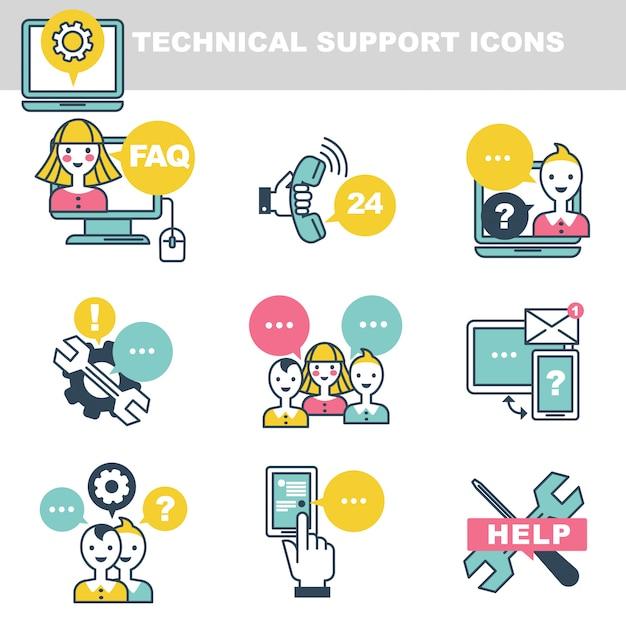 Technische ondersteuningspictogrammen die hulp via telefoon of internet symboliseren Premium Vector
