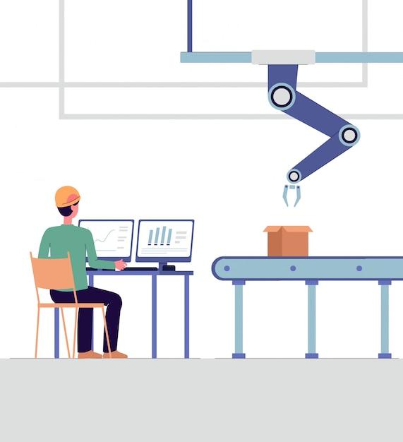 Technische specialist die slimme geïsoleerde fabrieks vlakke vectorillustratie controleren. Premium Vector