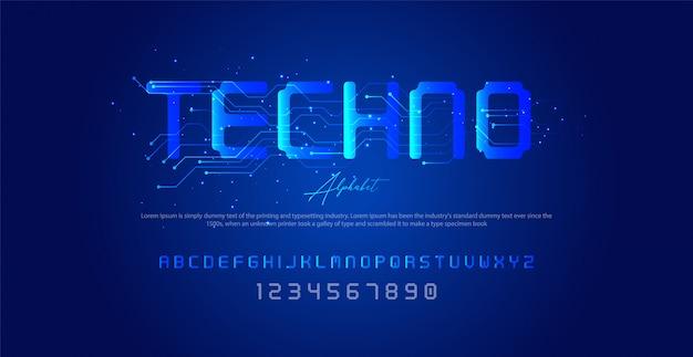 Techno-stijl lettertype, alfabet en cijfers, Premium Vector