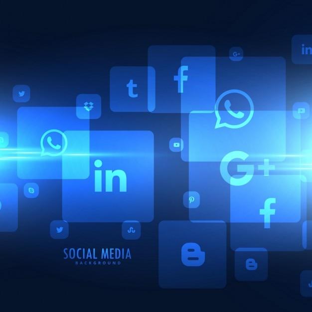 Techno stijl sociale media pictogrammen achtergrond Gratis Vector
