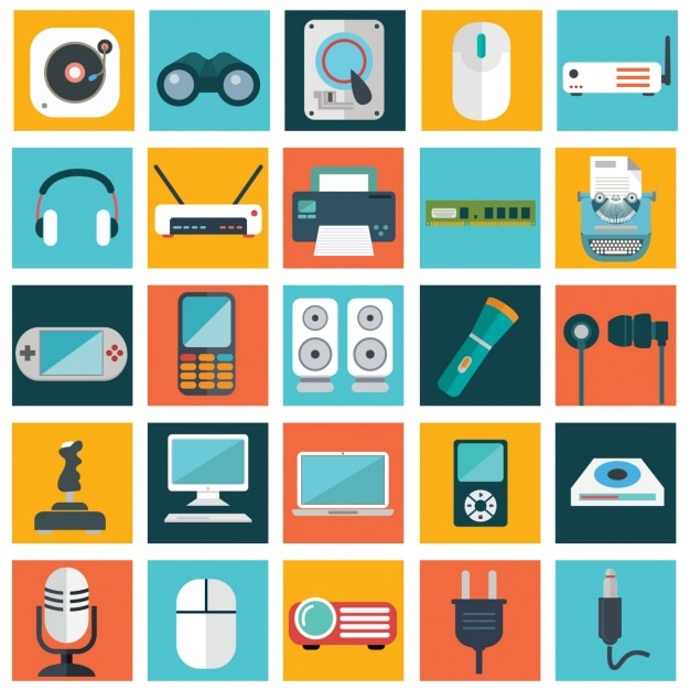 Technologic apparaten collectie Gratis Vector