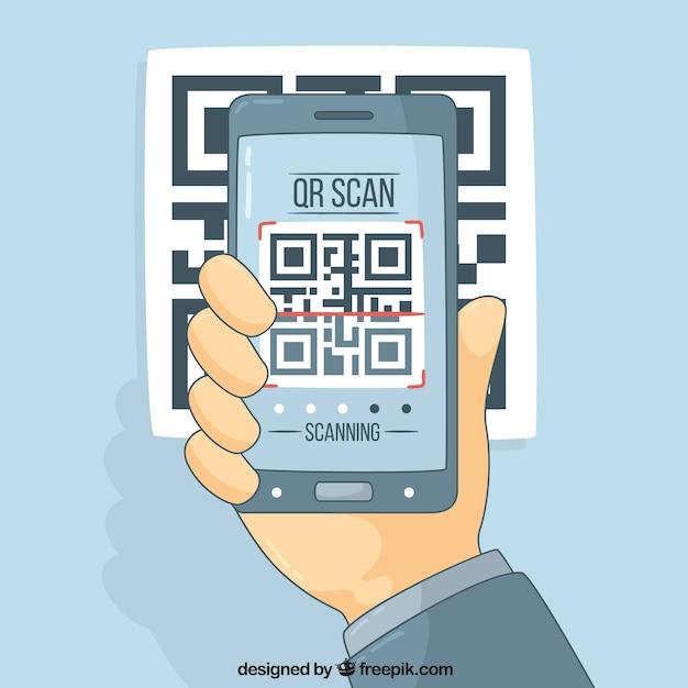 Technologie achtergrond met mobiele en qr-code Gratis Vector