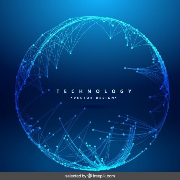 Technologie achtergrond met ronde mesh Gratis Vector