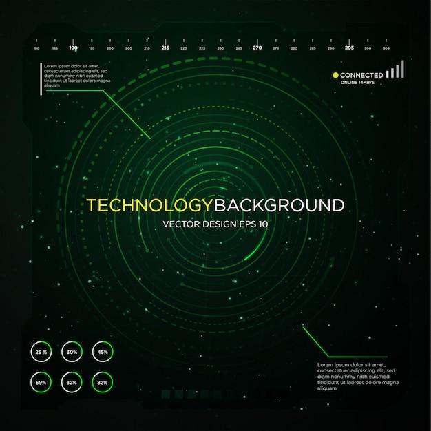 Technologie achtergrondkleur met abstracte cirkelinterface Premium Vector