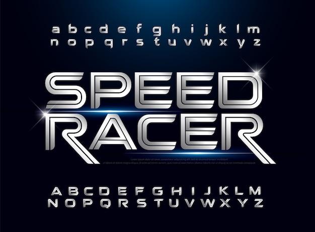 Technologie alfabet zilver metallic en effect ontwerpen sport concept Premium Vector