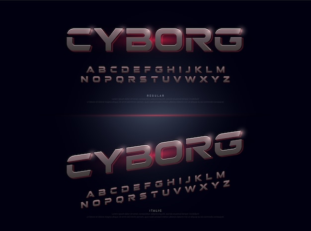 Technologie alfabet zilver metallic en effect ontwerpen Premium Vector