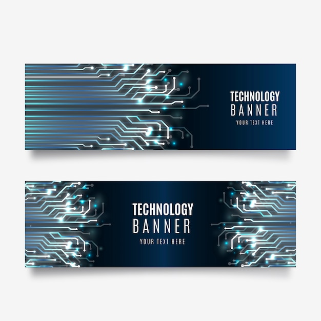Technologie banner collectie Gratis Vector