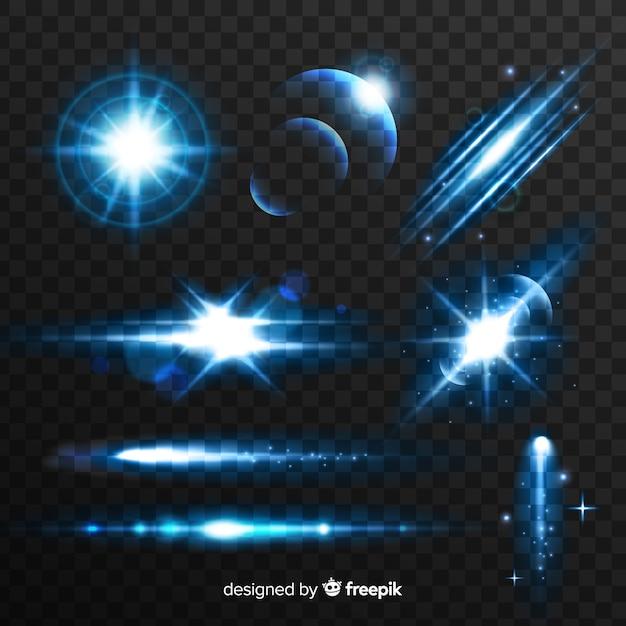 Technologie blauw licht effect collectie Gratis Vector