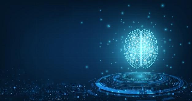 Technologie concept. vector abstracte veelhoekige menselijke hersenen vorm van een kunstmatige intelligentie met lijnstippen en schaduw op donkerblauwe kleur achtergrond. Premium Vector