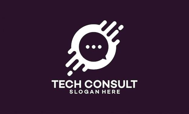 Technologie consulting logo sjabloonontwerpen Premium Vector