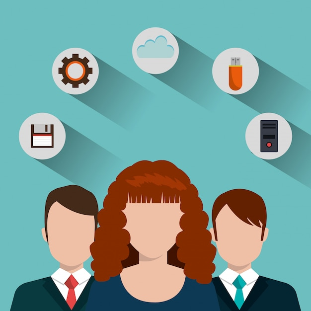 Technologie diensten illustratie Gratis Vector