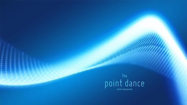 Technologie digitale splash of explosie van gegevenspunten achtergrond. point dance golfvorm. cyber ui, hud-element. Gratis Vector
