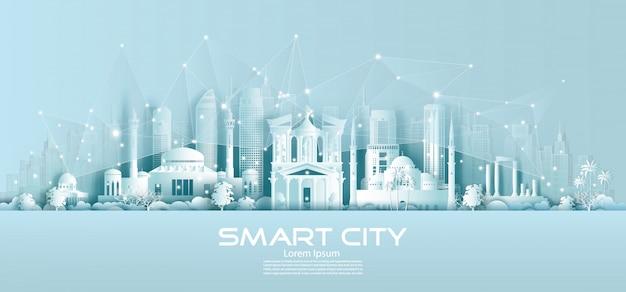 Technologie draadloze netwerkcommunicatie slimme stad met architectuur in jordanië. Premium Vector