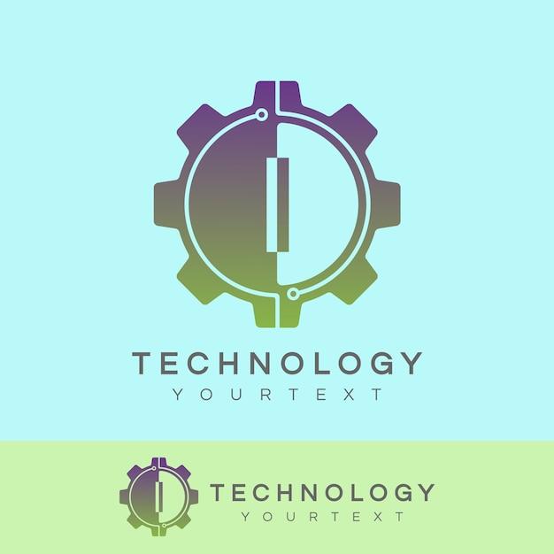 Technologie eerste letter i logo ontwerp Premium Vector