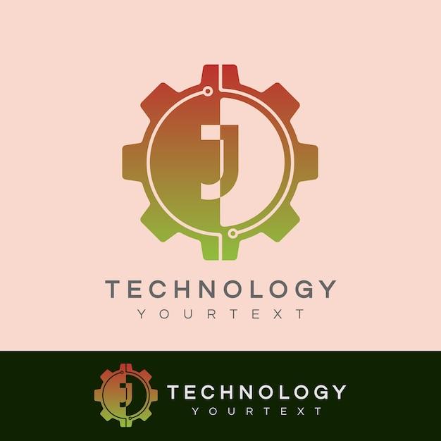 Technologie eerste letter j logo-ontwerp Premium Vector