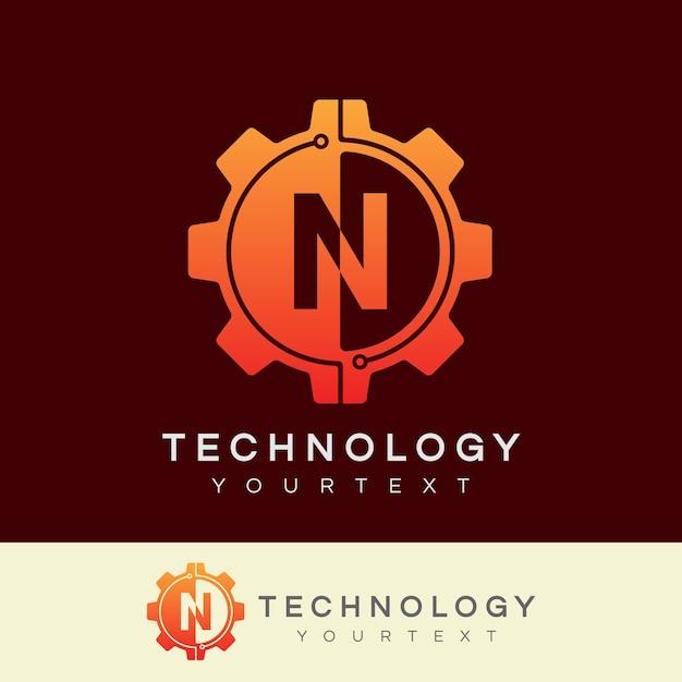 Technologie eerste letter n logo ontwerp Premium Vector