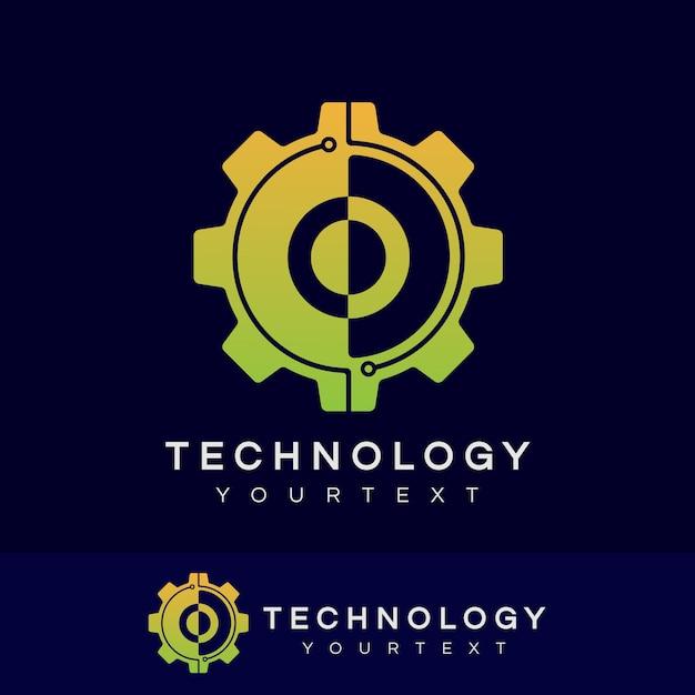 Technologie eerste letter o logo ontwerp Premium Vector
