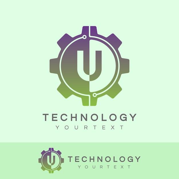 Technologie eerste letter u logo ontwerp Premium Vector