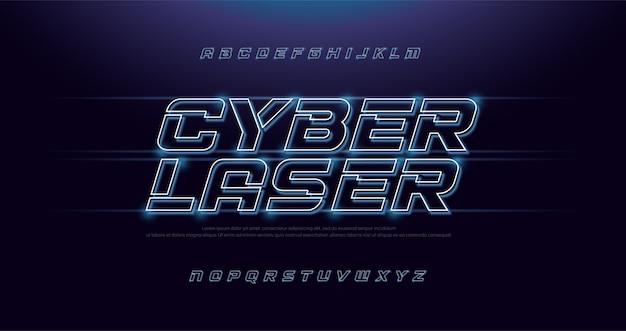 Technologie effect abstracte neon lettertype en alfabet Premium Vector