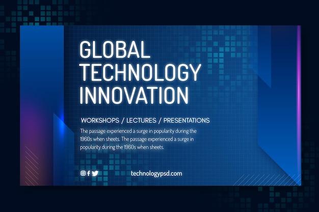 Technologie en toekomstige sjabloon voor spandoek Gratis Vector