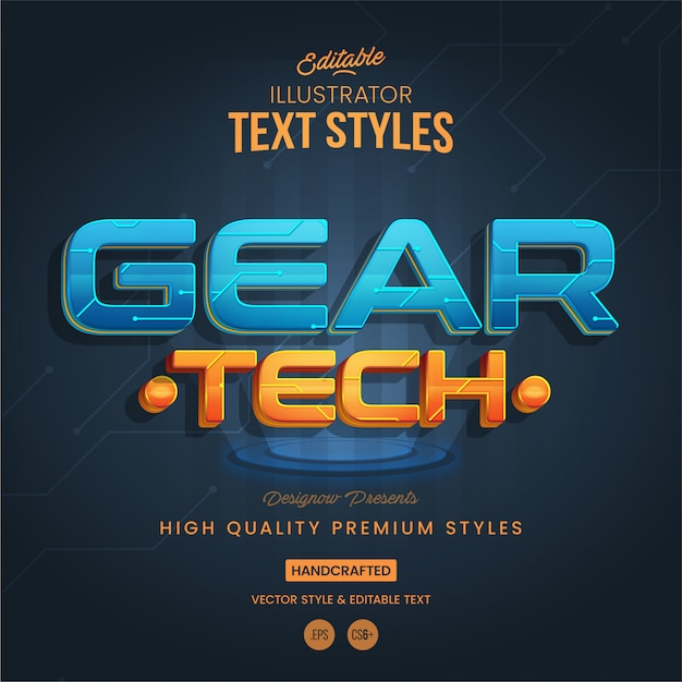 Technologie futuristische tekststijl Premium Vector