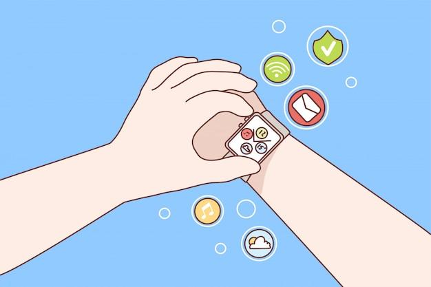 Technologie, horloge, gadget, innovatieconcept Premium Vector